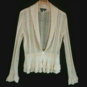 Ralph Lauren top cardigan open knit linen poet
